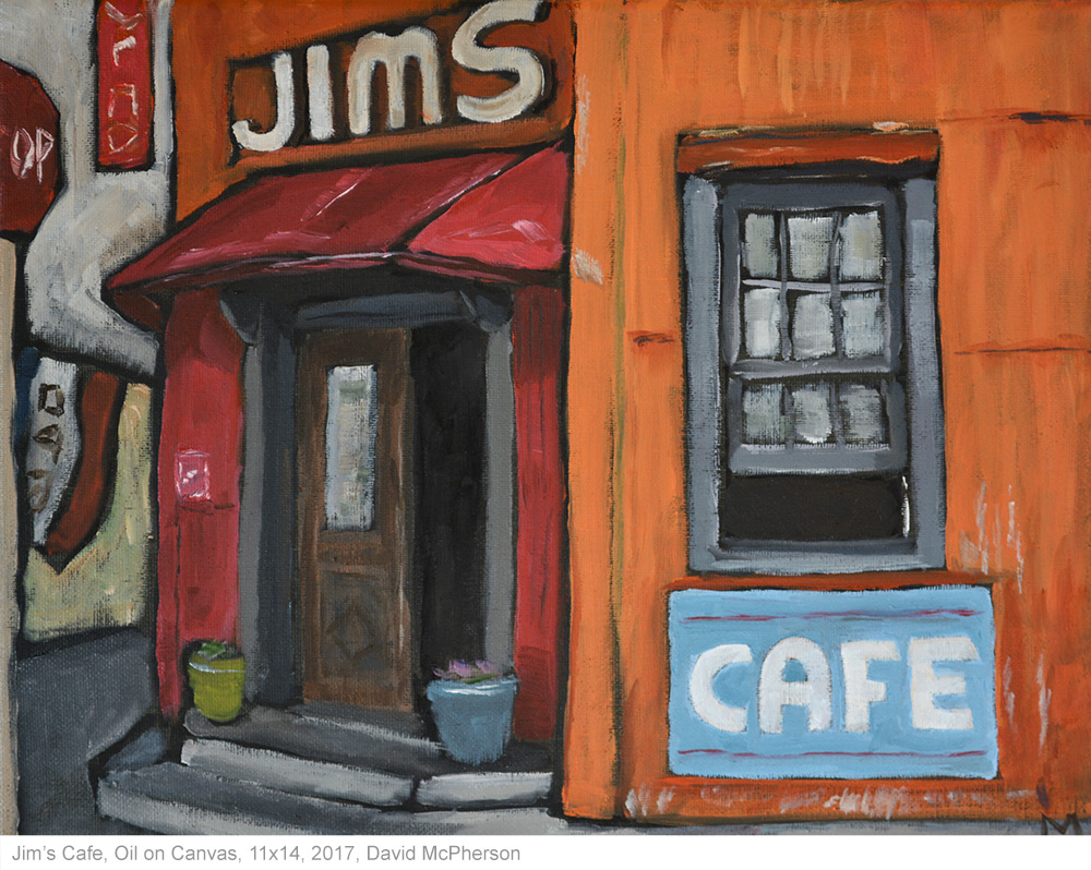Jims Cafe, Oil on Canvas, 2017, David McPherson