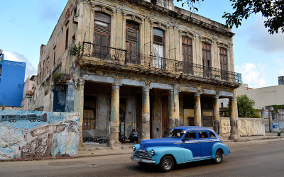 Blue-Car-Old-Building