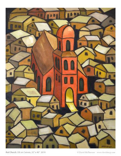 Red Church, 32 x 40, 2019