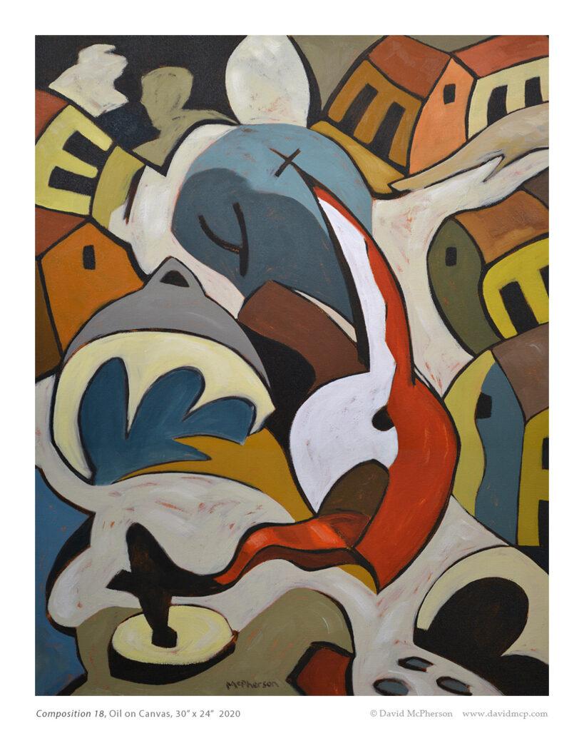 Composition 18, Oil on Canvas, 30 x 24, 2020