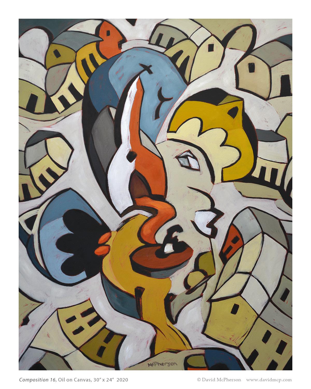 Composition 16, Oil on Canvas, 30 x 24, 2020