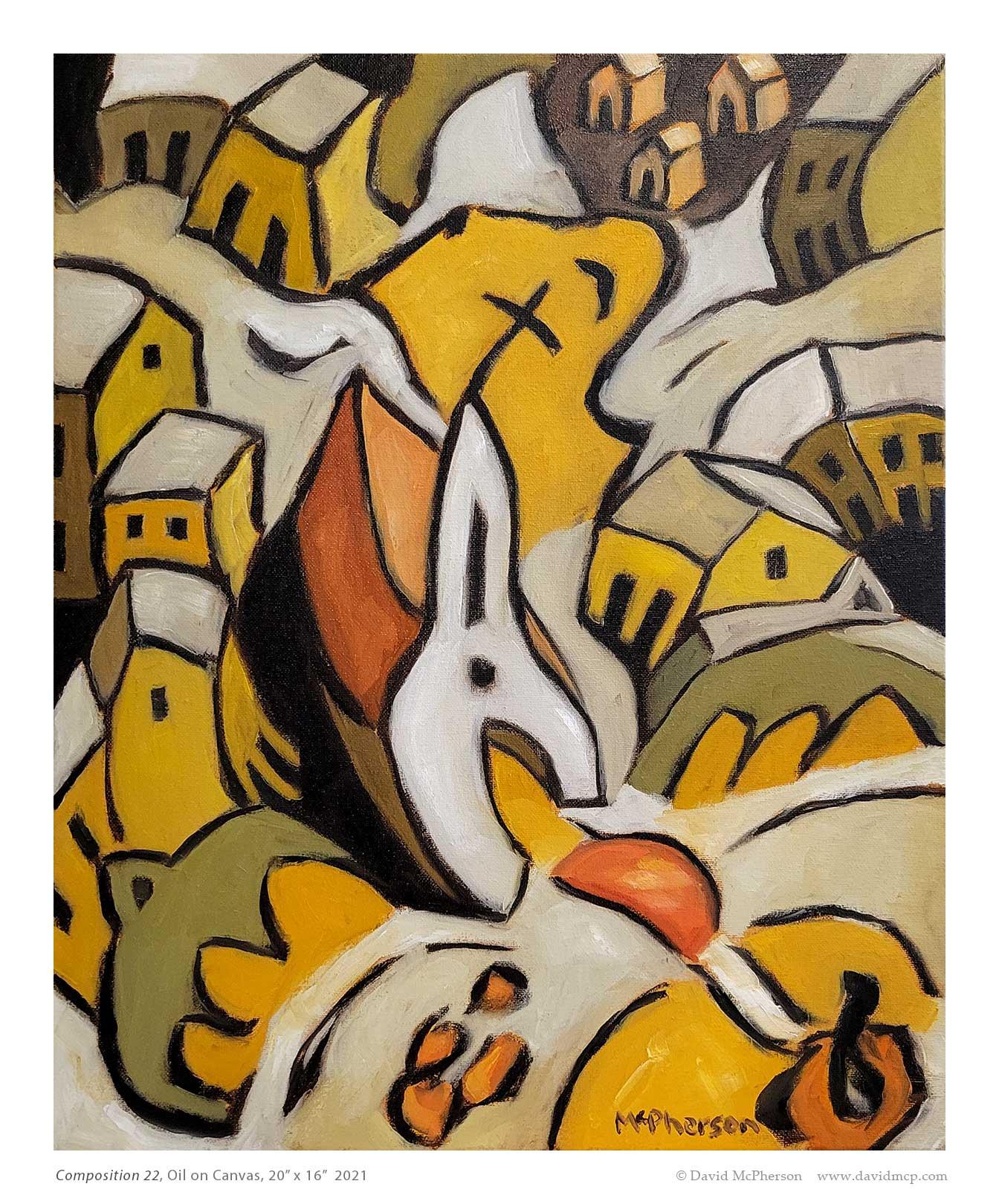 Composition 22, Oil on Canvas, 20 x 16, 2021, McPherson