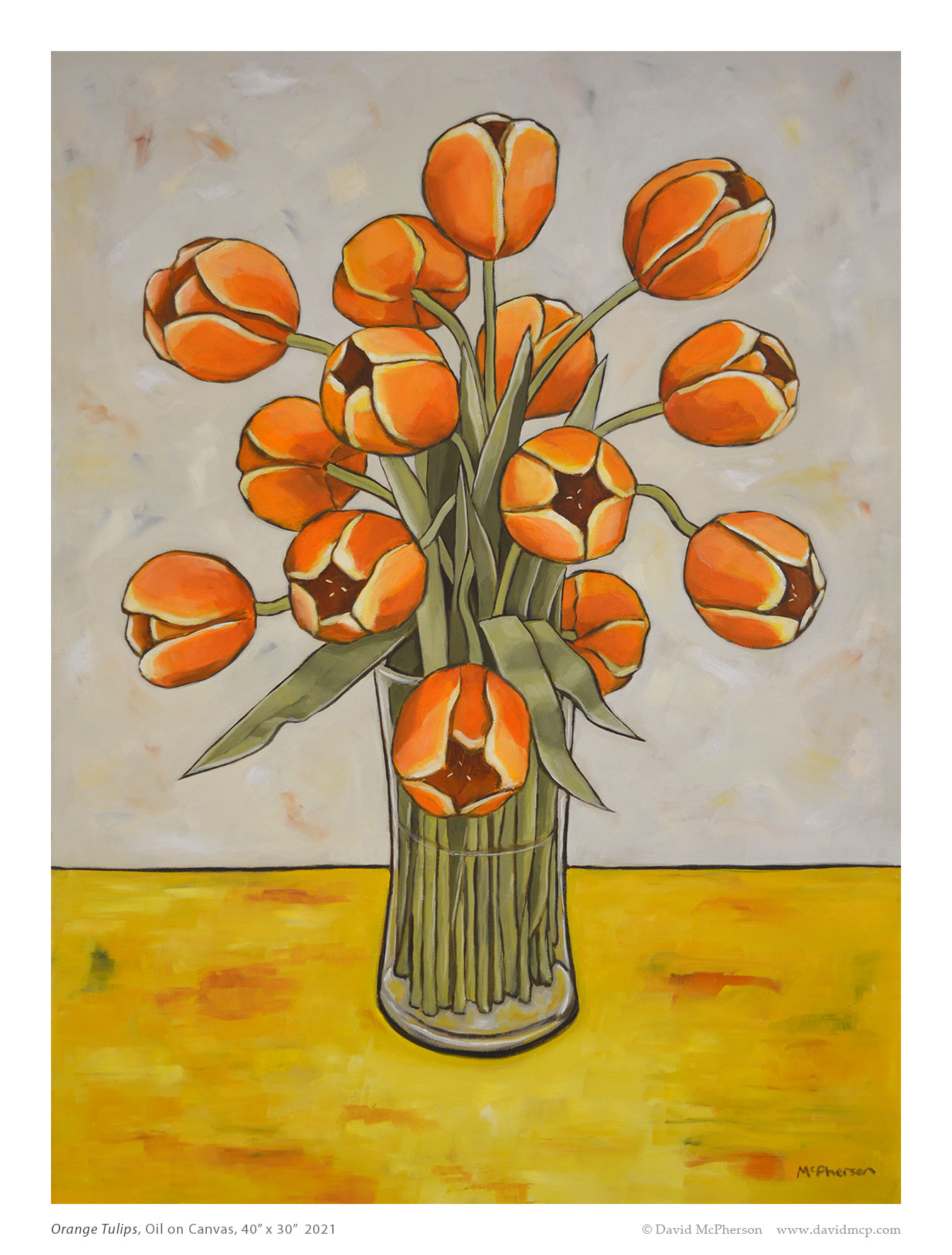 Orange Tulips, Oil on Canvas, 40 x 30, 2021, McPherson