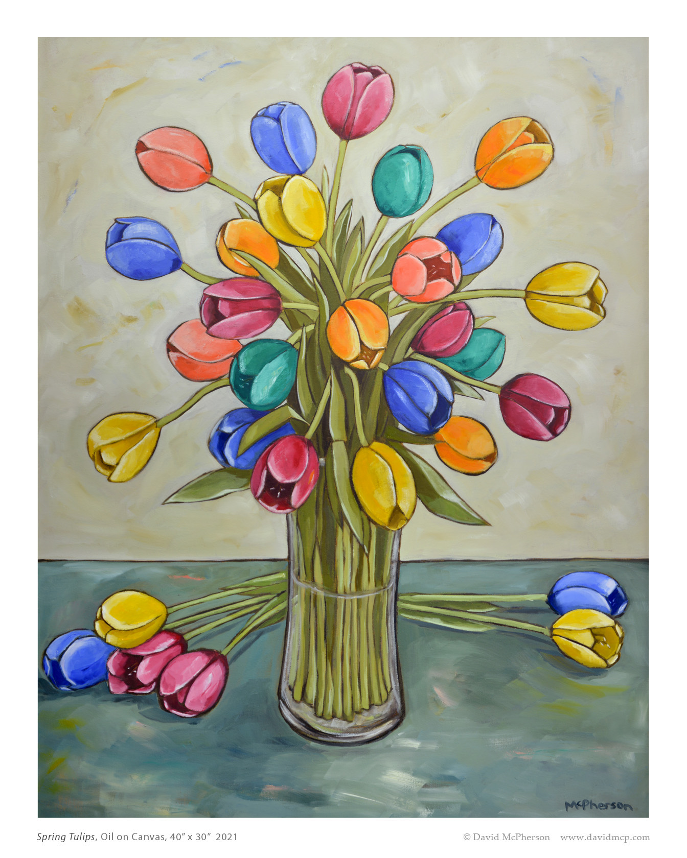 Spring Tulips, Oil on Canvas, 40 x 30, 2021